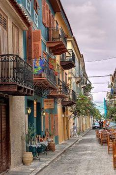 Α pittoresque alley with old houses in Nafplio, Greece Santorini, The Places Youll Go, Places To Visit, Beautiful World, Beautiful Places, Travel Around The World, Around The Worlds, Places In Greece, Greece Islands
