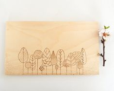 Modern forest painting. Minimal trees artwork. Wood burning, pyrography art  by DecorAsylum