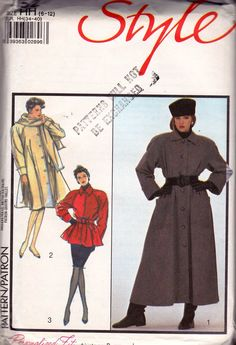 1980s Lined Coat Jacket & Scarf Pattern Style 1152 Vintage Sewing Pattern Size 6 8 10 12 UNCUT Factory Folded