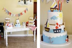 Sailor birthday ideas. Love the toilet paper rolls being used for the kids...