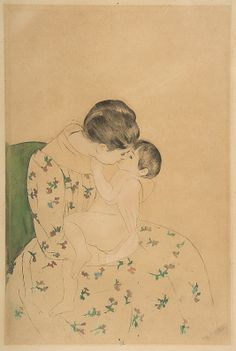 Mary Cassatt (American, 1844–1926). Mother's Kiss, ca. 1891. The Metropolitan Museum of Art, New York. Gift of Mrs. Gardner Cassatt, 1960 (60.730bis)