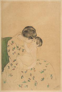 Mary Cassatt, (American, 1844–1926). Mother's Kiss, ca.1891. The Metropolitan Museum of Art, New York. Gift of Mrs. Gardner Cassatt, 1960 (60.730bis) #kids #metkids