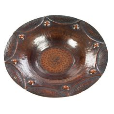Arts and Crafts bowl, in hammered copper with repousse design, stamped Arrow Metal, New York
