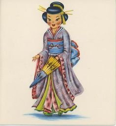 Retro Japanese Girl Set of 4 Temporary Tattoos (Lasts 3 to 4 days) *** Learn more by visiting the image link. (This is an affiliate link) Vintage Pictures, Vintage Images, Gifts For Art Lovers, Old Cards, Thinking Day, Doll Costume, Vintage Paper Dolls, Partys, Vintage Greeting Cards