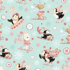 Studio E Peppermint Penguin by Lucie Crovatto 3018S 11 Aqua Skiing & Sledding $9.60/yd PREORDER DUE JUNE/JULY '15