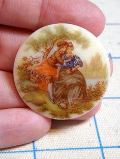 Fragonard Painting Image Cabochon  2 Vintage Glass Courting Scene by bansheehouseofmake, $10.00