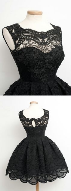 2016 homecoming dress, black homecoming dress, black lace homecoming dress, party dress, vintage dress