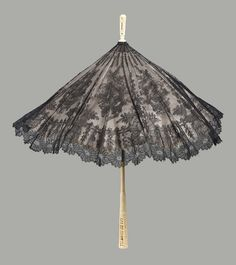 Parasol, Mid-19thc., Made of silk and lace