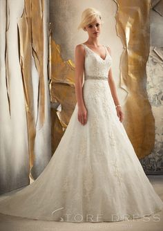 Precious A-line Chapel Ruffles Wedding Dress 2014 Style at Storedress.com I really like this one