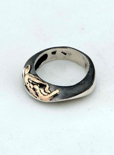 sterling silver ring with 8k gold details,.....