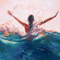 Mermaid Art print of painting Break Open // Giclee Print of original painting of woman beneath the pulse of the waves
