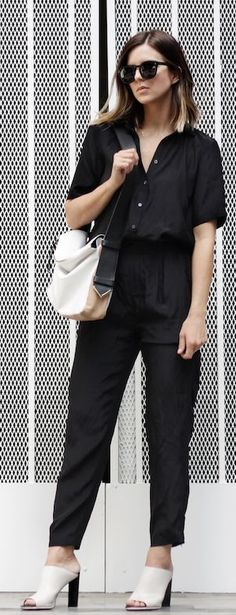 Black And White Open Toe Mules Streetstyle