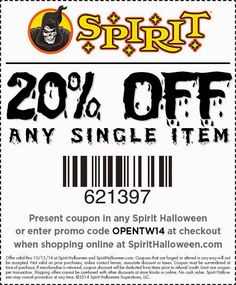 Are we there yet? Almost, and like our friends at Spirit Halloween we agree that it's so much fun it's scary! With just 60 days to go, the store has been tweeting FREE coupons to get 20% off all things creepy, crawly and spooky! Spirit Halloween stores are just starting to pop up so go to http://checkout.spirithalloween.com/StoreLocation.aspx to find one near you. All you need do is provide promo code OPENTW14 on checkout, or download the coupon here. It's valid until October 12!