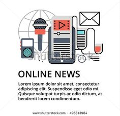 Modern flat thin line design vector illustration, concept of online news, for graphic and web design