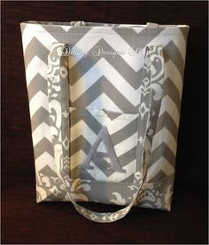 """MARCH SALE - 12"""" x 14"""" Grey Chevron Tote Bag with Coordinating Grey Damask - Grey Monogram by daintydesignsshop on Etsy"""