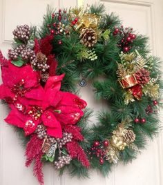 Poinsettia Christmas Wreath by HeavinlyCreations on Etsy, $50.00
