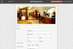 Here's a sample of a Hotel Registration Form made by one of our clients using Form2Go. Get up to 3 reports perform in our free online form creation service. There are many templates offered by us to assist you in your form creation. Just sign up today to access our services. Online Form, Online Web, Form Maker, Form Builder, Registration Form, Sign, Templates, Business, Free