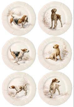 Gien Dog Dessert Plates