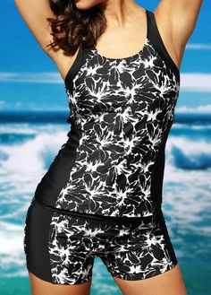 It's easy to fall crazy in love with this chic printed tankini swimsuit! Black tankini with contrast white floral print and solid panel splice. Tankini top features adjustable straps and racerback style. Matching swim trunks with moderate coverage. Black Tankini, Tankini Top, Swim Cover Ups, Plus Size Swimsuits, Swimsuits 2017, Lingerie, Swim Dress, Cute Skirts, Sport Outfits