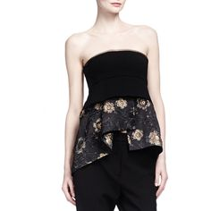 Donna Karan Strapless Floral Jacquard Peplum Bustier Top (685 AUD) ❤ liked on Polyvore featuring tops, black gold, flutter-sleeve top, layered tops, floral print top, empire waist tops and peplum tops