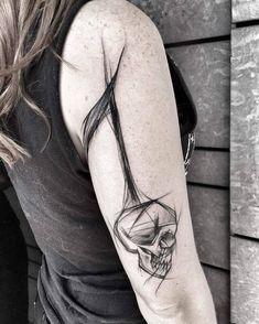 Sketch Style Skull Tattoo by Inez Janiak
