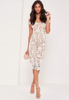 play up your romantic side and look fresh in this lace dress - featuring an on trend bardot style, sophisticated midi length and a nude underlay.