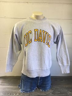 5ee266119 CHAMPION REVERSE WEAVE Sweatshirt 80s Vtg UC DAVIS University Sweater USA  Large #Champion #Sweatshirt
