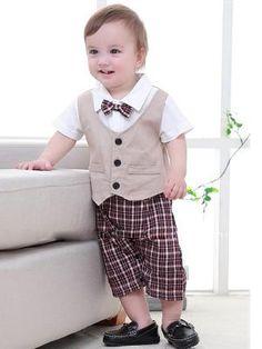 391c72be811d Kiskissing Bow Formal Style Cotton Vest Plaid Romper Jumpsuit Short-sleeve  for Baby Boys Wholesale Boys Suits.