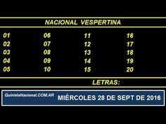Video Quiniela Nacional Vespertina Miercoles 28 de Septiembre de 2016 Pizarra del sorteo desarrollado en el recinto de Loteria Nacional a las 17:30
