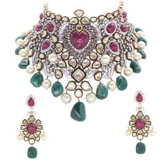 Anmol Jewellers polki necklace with invisible-set rubies and tumbled emeralds.