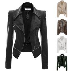 Fashion Women PU Faux Leather lapel zipper short Coat Jacket outwear Slim Biker #Unbranded #LeatherjacketandCorsetShapewear