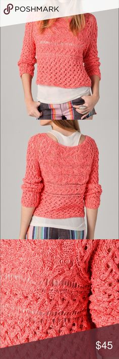 Free People Pullover Free People Marigold Pullover in (hot salmon) Coral. This cable-knit sweater features a scoop neck. Long raglan sleeves. Semi-sheer. Free People Tops