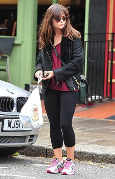 Sporting off-duty style: Jenna Coleman nipped to the shops in work out gear and a cool black sheepskin jacket