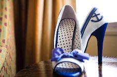 """""""Something blue"""" wedding shoes."""
