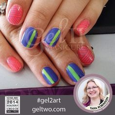 This #ManicureMonday is absolutely adorable. Colors from the new Gel II Beach Boardwalk Collection. Coral Reef, Limeaid, and Blue Coconut. Done by Educator Tara-Fied Nails. #geltwo #gel2 #gelii #gel2art #neonnails #neoncolors #summernails #notd #nailart #nailsoftheday #nails