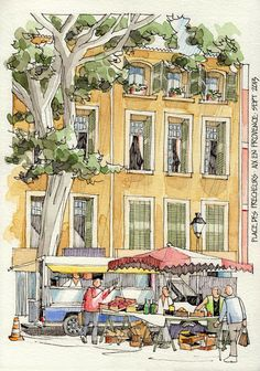 Beautiful sketch of the market at Place Precheurs.  I started my mornings here 3 days a week with a grand cafe creme, and madelines from Christophe!
