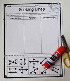 Types of Lines Sorting Activity and Other Geometry Activities, Games, and Quizzes