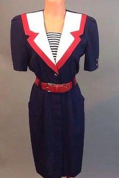 Vintage 1980s Danny & Nicole Nautical Dress  Size 8 Petite Costume 449
