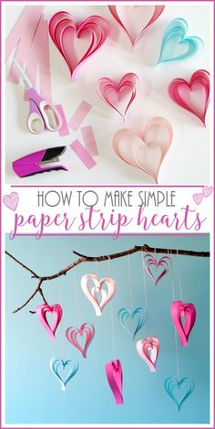 how to Make Paper Strip Hearts - simple Valentine craft idea - - Sugar Bee Crafts Valentine Crafts For Kids, Valentines Day Decorations, Be My Valentine, Funny Valentine, Holiday Crafts, Valentine Ideas, Valentine Hearts, Printable Valentine, Homemade Valentines