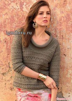 Пуловер с изящными ажурными узорами
