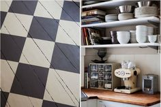 Checkered painted wooden flooring.