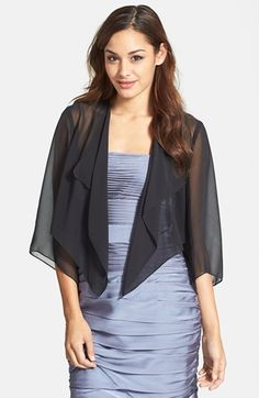 Free shipping and returns on Alex Evenings 'Hanky' Bolero at Nordstrom.com. A cascading front and wide, cropped sleeves add to the floaty feel of a sheer chiffon bolero that works as an effortlessly light layer over your glam outfit.