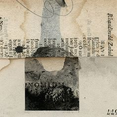 Small collages using book pages, covers and spines
