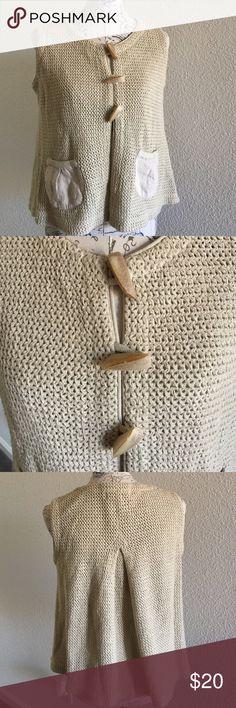 Willow, 100% Cotton Vest Willow sweater vest. 100% cotton, with interesting buttons. Size medium Willow Sweaters