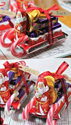 Chocolate Candy Santa Sleighs Tutorial - 12 Wondrous DIY Candy Cane Sleigh Ideas That Will Leave Your Kids Open-Mouthed christmas cookies, christmas presents for sister, christmas presents for daddy Christmas Candy Crafts, Easy Diy Christmas Gifts, Christmas Gifts For Friends, Kids Christmas, Holiday Crafts, Christmas Presents, Chocolate Christmas Gifts, Candy Cane Crafts, Chocolate Diy