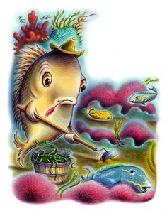 spot illustration, animal, fish, water, ocean, Debbie Palen Illustration
