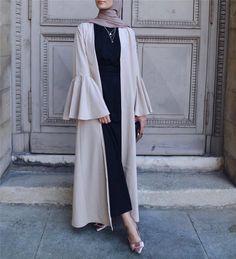 color:beige,black DM me :wechat muslim women abaya dress with big horn sleeve plain color Abaya Fashion, Muslim Fashion, Modest Fashion, Fashion Outfits, Dress Fashion, Modest Wear, Modest Dresses, Modest Outfits Muslim, Mode Kimono