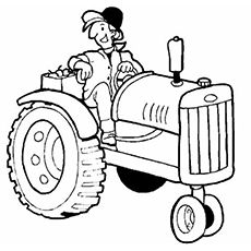 farmer on tractor coloring pages - photo#17