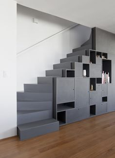 Stairs with black shelves
