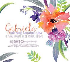 Watercolor clipart, Floral PNG, wedding bouquet, arrangement, bouquet, frames, digital paper, blue flowers, bridal shower, for blog banner